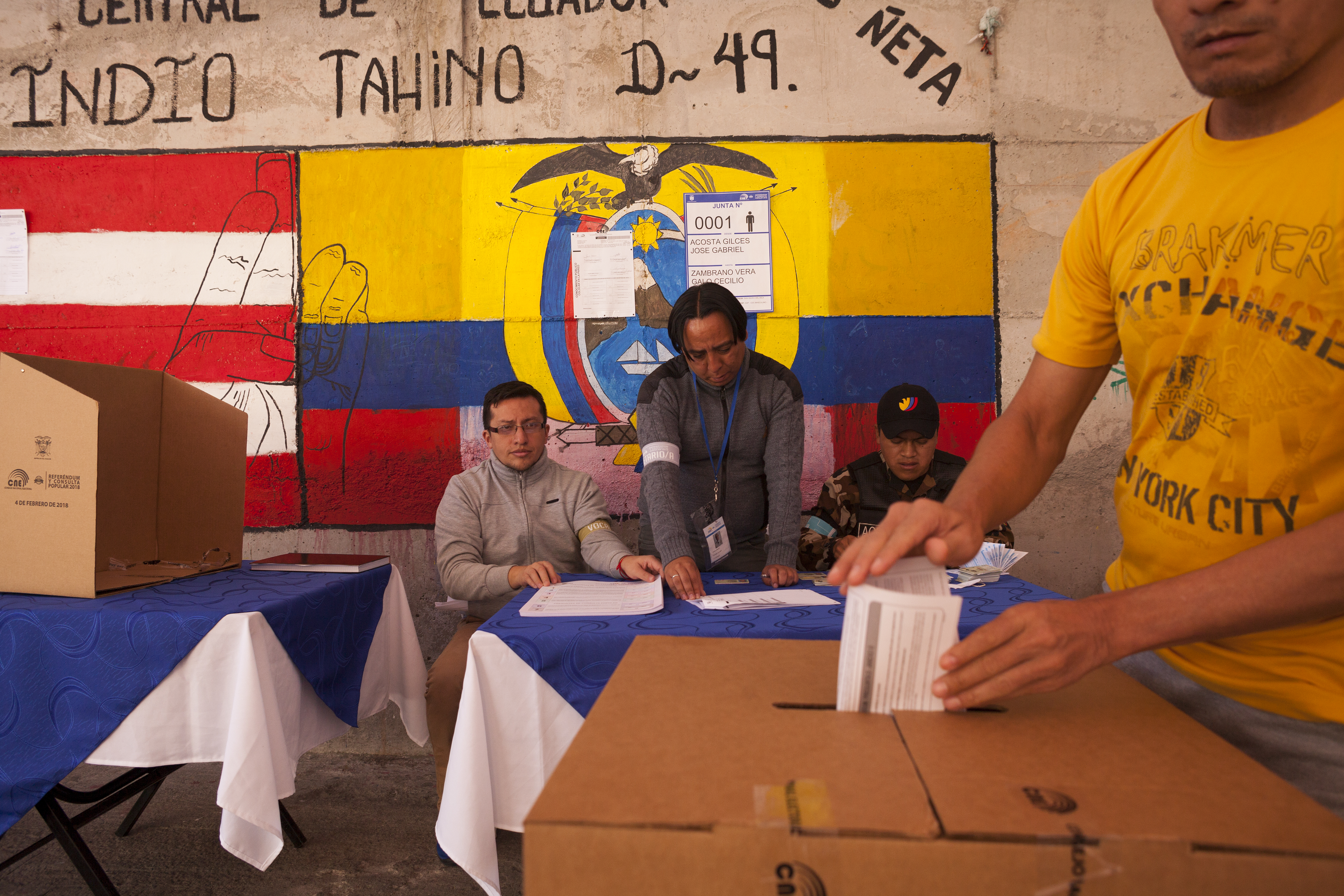 Voting in Ecuador.