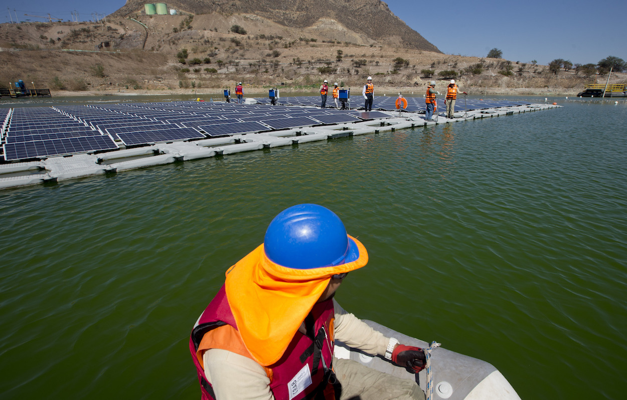 A floating island of solar panels in Chile.