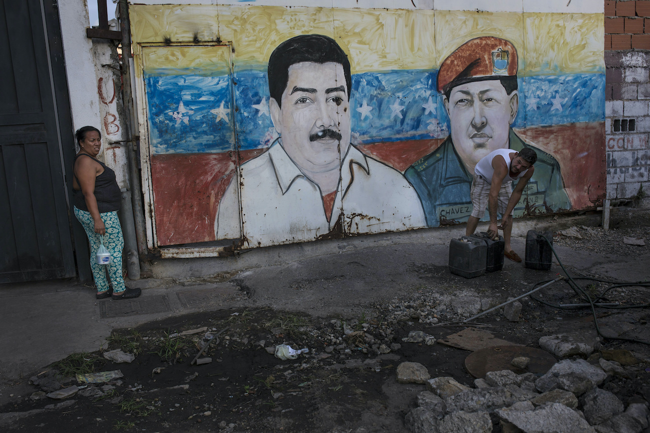 A mural of Nicolás Maduro and Hugo Chávez in Caracas. (AP)