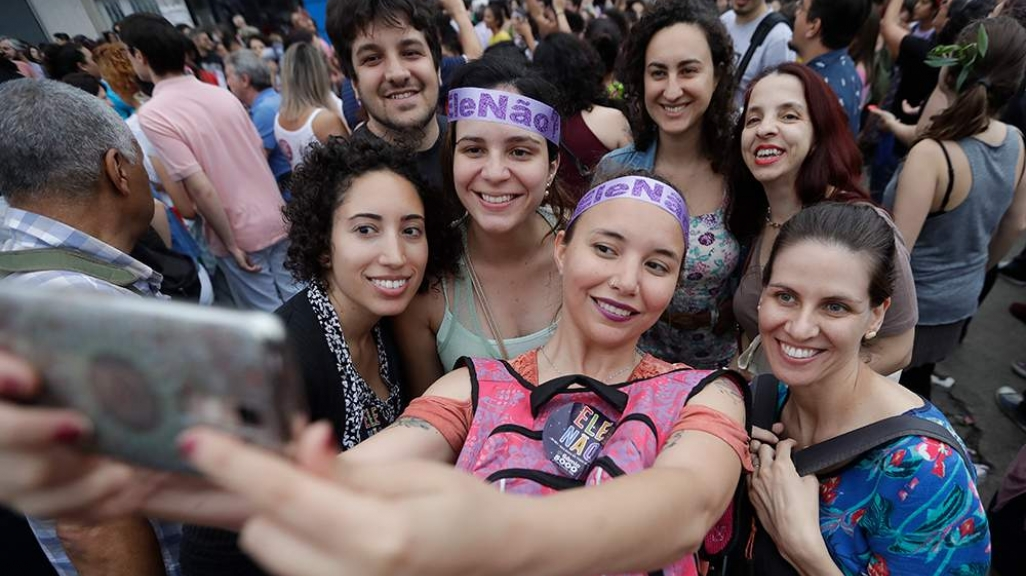 #EleNão activists take a selfie. (AP)