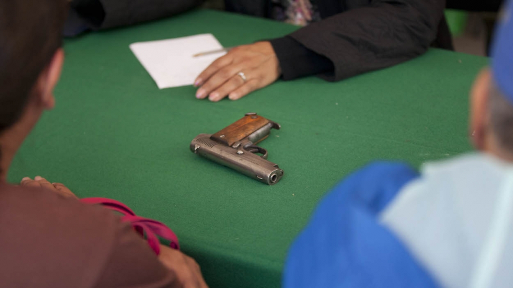 A gun surrendered in Mexico. (AP)