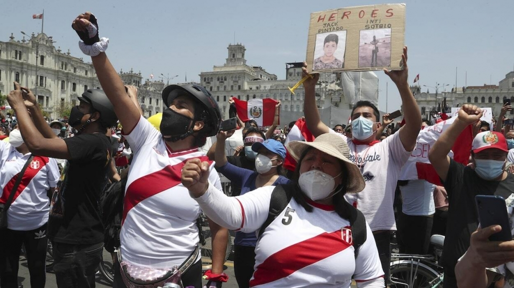 Demonstrators in Lima.