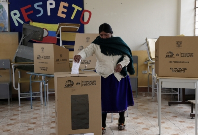 A woman votes in Ecuador. (AP)