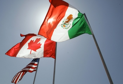 Flags of NAFTA members United States, Canada, Mexico